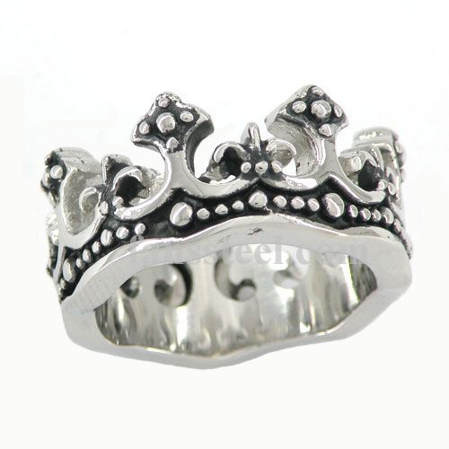 jewelry de princess stainless htm royal flower crown ring fleur steel medallion p c lis